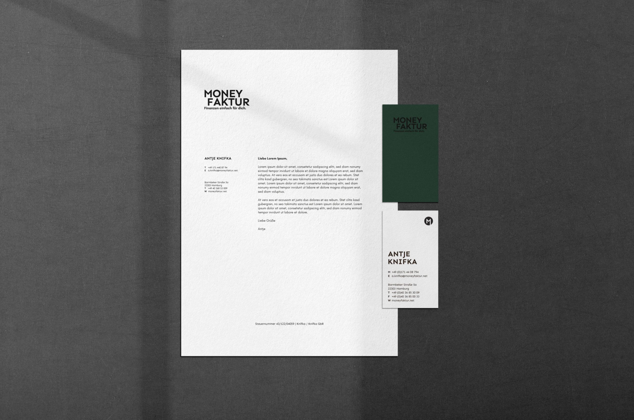 Brief und Visitenkarte Moneyfaktur